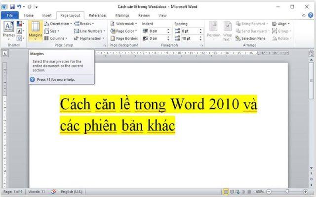 [HD] 2 cách căn lề trong word 2010, 2007, 2013, 2016 chuẩn văn bản