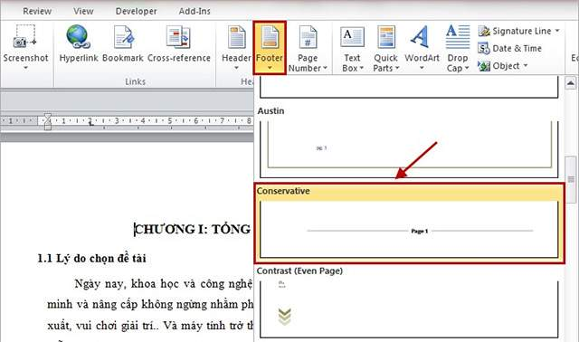 Cách đánh số trang bất kì trong word 2010