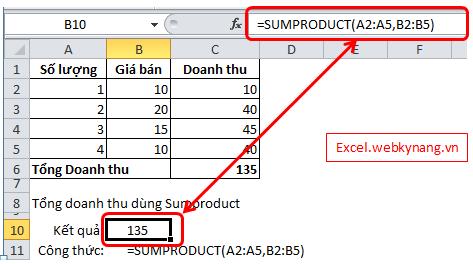 cách sử dụng cơ bản của hàm sumproduct Tính tổng của tích